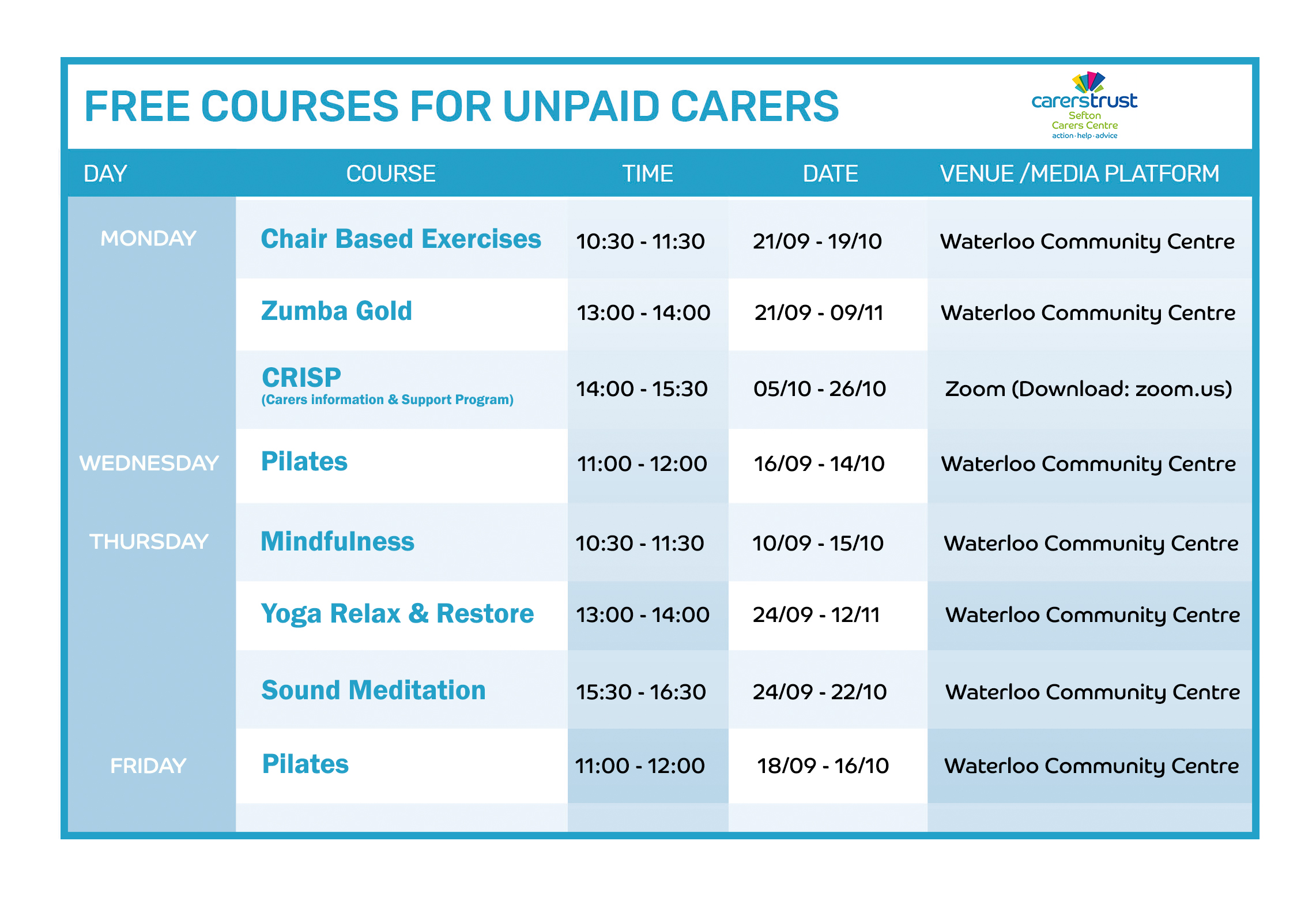 Carers Courses Oct 20 SOCIAL